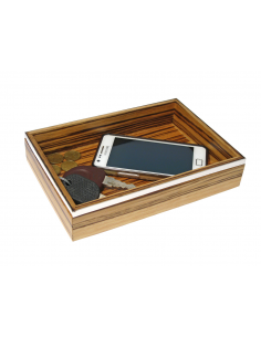 """Wood Tray for objects and silver """"ZebraBand"""""""