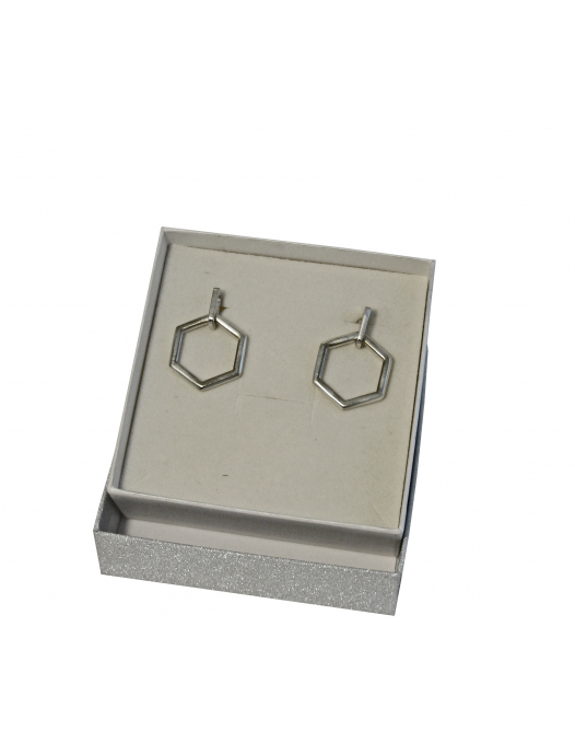 "Sterling silver earrings geometric shape "" Esagygon"""